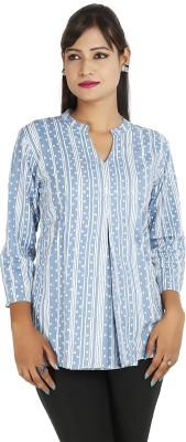 Ra Studio Casual 3/4 Sleeve Printed Women's Blue Top