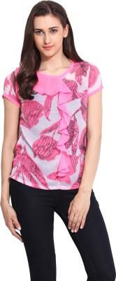 Mystree Casual Short Sleeve Printed Women's Pink Top