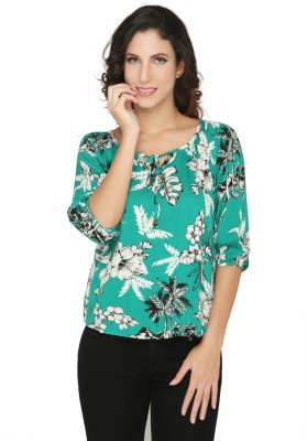 Philigree Casual 3/4 Sleeve Floral Print Women,s Green Top