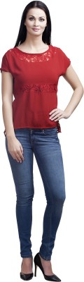 MansiCollections Casual Short Sleeve Embroidered Women's Red Top
