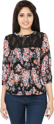 Ru-Ru Casual 3/4 Sleeve Floral Print Women's Black, Blue Top