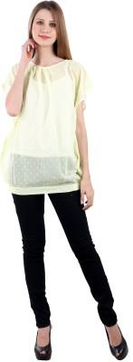 Selfiwear Casual Short Sleeve Printed Women's Yellow Top