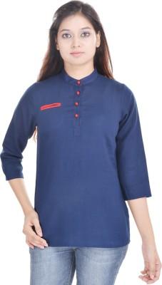 Abhiprai Casual 3/4 Sleeve Solid Women's Blue Top