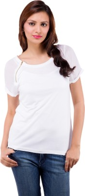 Centiaro Casual Short Sleeve Solid Women's White Top