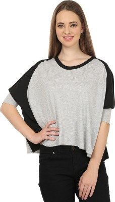 United Colors of Benetton Casual 3/4th Sleeve Solid Women's Grey, Black Top at flipkart
