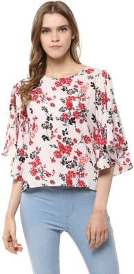 Harpa Casual Petal sleeve Floral Print Women's White Top