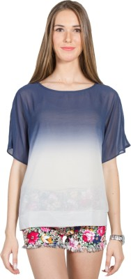 My Addiction Casual Short Sleeve Solid Women's Blue, White Top