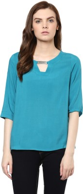 Avirate Casual 3/4 Sleeve Solid Women's Light Blue Top