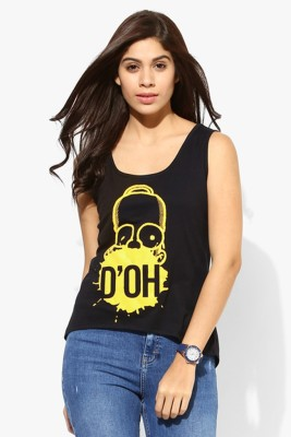 Simpsons Casual Sleeveless Graphic Print Women's Black Top