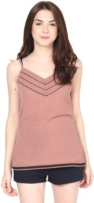 Eavan Casual Sleeveless Solid Women's Brown, Black Top at flipkart