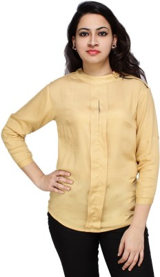 Styles Clothing Casual 3/4 Sleeve Solid Women's Yellow Top