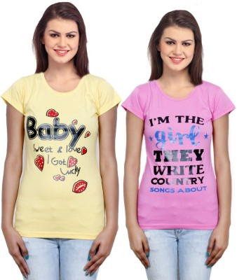 IndiWeaves Casual Short Sleeve Printed Girl's Yellow, Pink Top