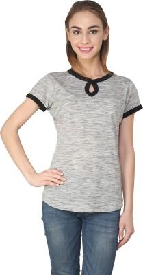 Ebry Casual Short Sleeve Self Design Women's Grey Top
