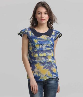 Moda Elementi Casual Butterfly Sleeve Printed Women's Blue Top