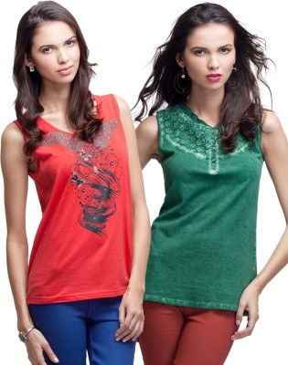 Primo Knot Casual Sleeveless Printed Women's Green, Red Top