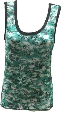 Dovekie Casual Sleeveless Printed Women's Green, White Top