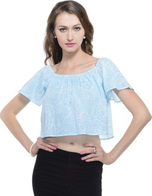 A Luv Ya Casual Short Sleeve Floral Print Women's Light Blue Top