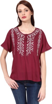 Oxolloxo Casual Short Sleeve Solid Women's Maroon Top at flipkart