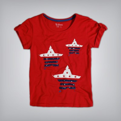 GJ Jeans Unltd Casual Short Sleeve Printed Girl's Red Top