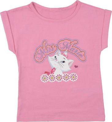 Addyvero Casual Short Sleeve Self Design Girl's Pink Top