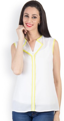 Tops and Tunics Casual Sleeveless Solid Women's White Top
