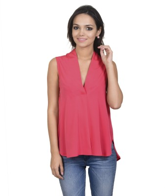 Antilia Femme Casual Sleeveless Solid Women's Pink Top