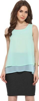 Leo Sansini Casual Sleeveless Solid Women's Green, Blue Top