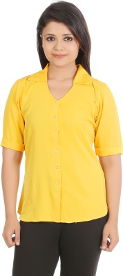 sap Casual Short Sleeve Solid Women,s Yellow Top