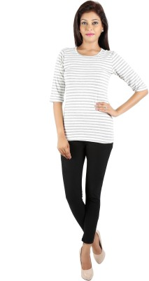 LEELA Casual Full Sleeve Striped Women's White, Grey Top