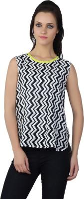 Liwa Casual Sleeveless Printed Women's White Top