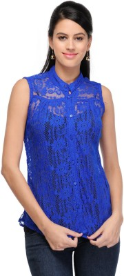 Fashion Hut Casual Sleeveless Embroidered Women's Blue Top