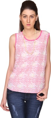 Bedazzle Casual Sleeveless Geometric Print Women's White, Pink Top