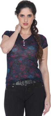 Fast n Fashion Casual Short Sleeve Geometric Print Women's Dark Blue Top