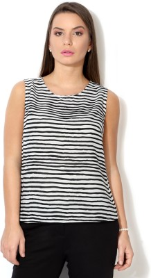 Van Heusen Casual Sleeveless Striped Women's White Top