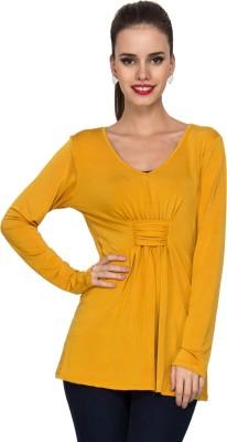 Kaxiaa Casual Full Sleeve Solid Women's Yellow Top