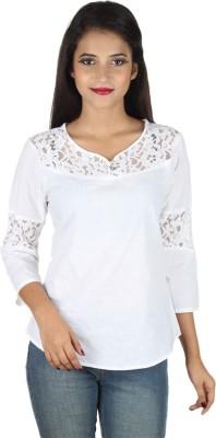 IndiFrench Moda Casual Full Sleeve Self Design Women's White Top