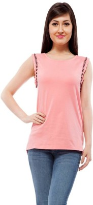 Orous Casual Sleeveless Solid Women's Pink Top