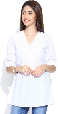 Shopaholic Casual 3/4 Sleeve Solid Women's White Top