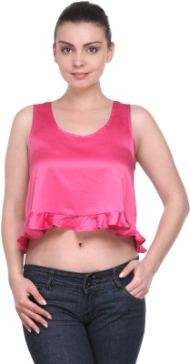 Kami Casual Sleeveless Solid Women's Pink Top