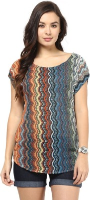 Abiti Bella Casual Short Sleeve Printed Women's Multicolor Top at flipkart