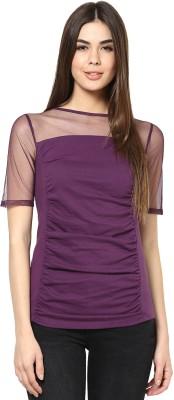 Citrine Casual Short Sleeve Solid Women's Purple Top