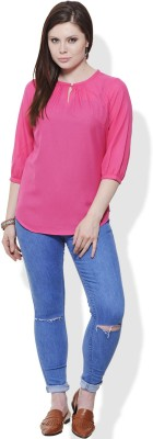 Fugue Casual 3/4 Sleeve Printed Women's Pink Top