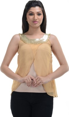 No Code Party Sleeveless Embellished Women's Gold Top