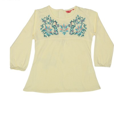 Elle Casual Full Sleeve Floral Print Girl's Yellow Top