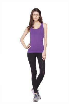 Channel Nine Casual Sleeveless Solid Women's Purple Top