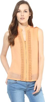 Citrine Casual Sleeveless Solid Women's Orange Top
