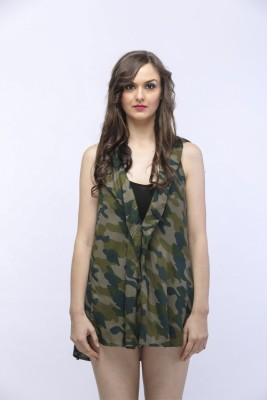 SOULWEAR Casual, Party, Formal Sleeveless Printed Women's Green Top