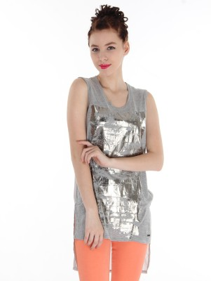 Pepe Jeans Casual Sleeveless Printed Women's Grey Top