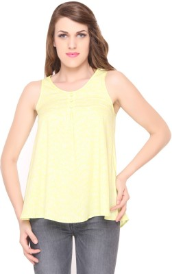 Lemon Chillo Casual Sleeveless Printed Women's Yellow Top