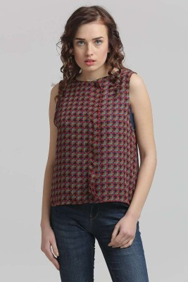 Moda Elementi Casual Sleeveless Checkered Women's Multicolor Top